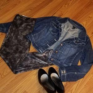 Lane Bryant Cropped Denim Jean Jacket Size 14
